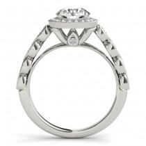 Ruby & Diamond Halo Bridal Set Setting 14K White Gold (0.54ct)