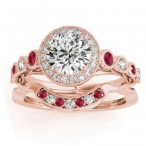 Ruby & Diamond Halo Bridal Set Setting 18K Rose Gold (0.54ct)