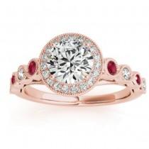 Ruby & Diamond Halo Bridal Set Setting 18K Rose Gold (0.54ct)