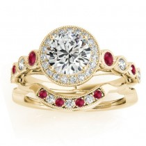 Ruby & Diamond Halo Bridal Set Setting 18K Yellow Gold (0.54ct)