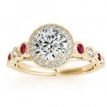Ruby & Diamond Halo Bridal Set Setting 18K Yellow Gold (0.54ct)