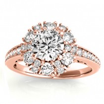 Diamond Halo Round Engagement Ring Setting 14k Rose Gold (1.01ct)