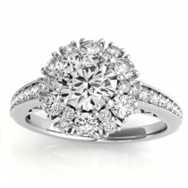 Diamond Halo Round Engagement Ring Setting 14k White Gold (1.01ct)