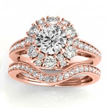Diamond Halo Round Bridal Set Setting 14k Rose Gold (1.23ct)