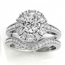 Diamond Halo Round Bridal Set Setting 14k White Gold (1.23ct)