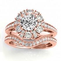 Diamond Halo Round Bridal Set Setting 18k Rose Gold (1.23ct)