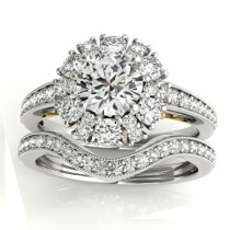 Diamond Halo Round Bridal Set Setting 18k Two Tone Gold (1.23ct)