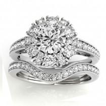 Diamond Halo Round Bridal Set Setting Platinum (1.23ct)