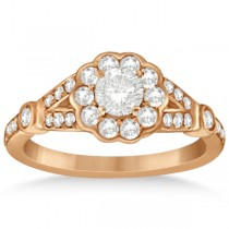 Halo Diamond Flower Engagement Ring Setting in 14k Rose Gold (0.50ct)