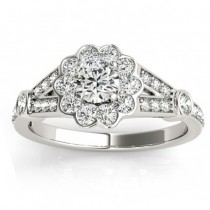 Halo Diamond Flower Engagement Ring Setting in 14k White Gold (0.50ct)