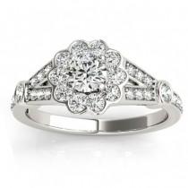 Halo Diamond Flower Engagement Ring Setting in 14k White Gold (0.50ct)