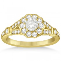Halo Diamond Flower Engagement Ring Setting in 14k Yellow Gold 0.50ct