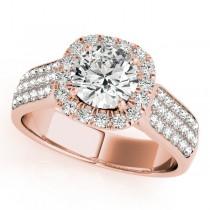 Three Row Round Halo Diamond Engagement Ring 14k Rose Gold (1.75ct)