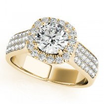 Three Row Round Halo Diamond Engagement Ring 14k Yellow  Gold (1.75ct)