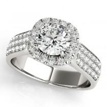 Three Row Round Halo Diamond Engagement Ring 18k White Gold (1.75ct)