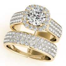 Three Row Halo Diamond Engagement Ring Bridal Set 18k Y. Gold (2.38ct)