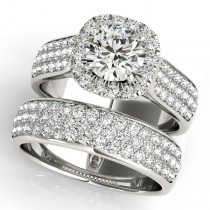 Three Row Halo Diamond Engagement Ring Bridal Set Palladium (2.38ct)