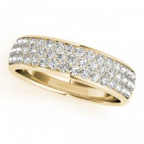 Three Row Diamond Wedding Band 14k Yellow Gold (0.63ct)