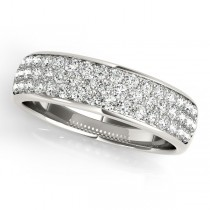Three Row Diamond Wedding Band 18k White Gold (0.63ct)