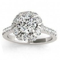 Floral Halo Diamond Engagement Ring Designer 14k White Gold 0.88ct
