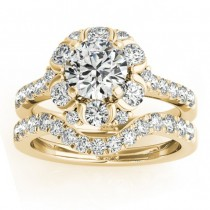Flower Halo Diamond Ring and Band Bridal Set 14k Yellow Gold 1.21ct