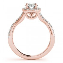 Twisted Shank Halo Diamond Engagement Ring Setting 14k R. Gold 0.30ct