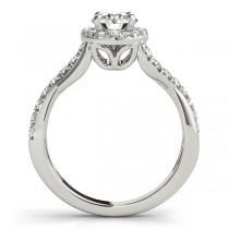 Twisted Shank Halo Diamond Engagement Ring Setting 14k W. Gold 0.30ct