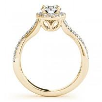 Twisted Shank Halo Diamond Engagement Ring Setting 14k Y. Gold 0.30ct