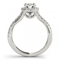 Diamond Twisted Halo Engagement Ring Setting 18k White Gold (0.33ct)