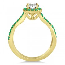 Twisted Shank Halo Emerald Engagement Ring Setting 14k Y. Gold 0.30ct
