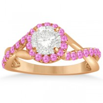 Twisted Halo Pink Sapphire Engagement Ring Setting 14k R. Gold 0.30ct