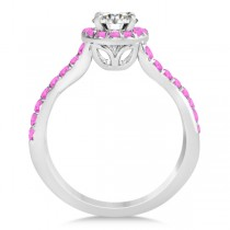 Twisted Halo Pink Sapphire Engagement Ring Setting 14k W Gold 0.30ct