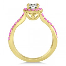 Twisted Halo Pink Sapphire Engagement Ring Setting 14k Y. Gold 0.30ct