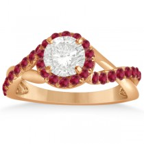 Twisted Shank Halo Ruby Engagement Ring Setting 14k R. Gold 0.30ct