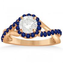 Twisted Shank Halo Blue Sapphire Bridal Set Setting 14k R. Gold 0.50ct