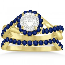 Twisted Shank Halo Blue Sapphire Bridal Set Setting 14k Y. Gold 0.50ct