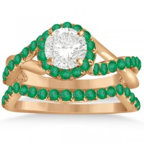 Twisted Shank Shank Halo Emerald Bridal Set Setting 14k R. Gold 0.50ct