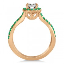 Twisted Shank Shank Halo Emerald Bridal Set Setting 14k R. Gold 0.50ct