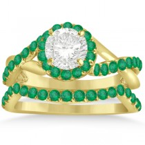 Twisted Shank Shank Halo Emerald Bridal Set Setting 14k Y. Gold 0.50ct