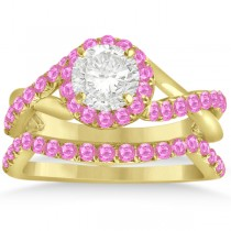 Twisted Shank Halo Pink Sapphire Bridal Set Setting 14k Y. Gold 0.50ct
