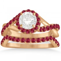 Twisted Shank Shank Halo Ruby Bridal Set Setting 14k R. Gold 0.50ct