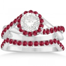 Twisted Shank Shank Halo Ruby Bridal Set Setting 14k W Gold 0.50ct