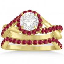 Twisted Shank Shank Halo Ruby Bridal Set Setting 14k Y. Gold 0.50ct