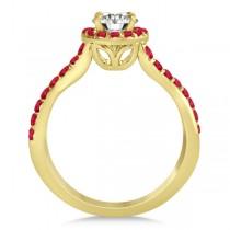 Twisted Shank Shank Halo Ruby Bridal Set Setting 14k Y. Gold 0.50ct