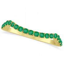 Semi Eternity Contour Emerald Wedding Band Ring 14k Yellow Gold 0.20ct