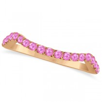 Semi Eternity Contour Pink Sapphire Wedding Ring 14k Rose Gold 0.20ct