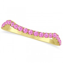 Semi Eternity Contour Pink Sapphire Wedding Ring 14k Yellow Gold 0.20ct
