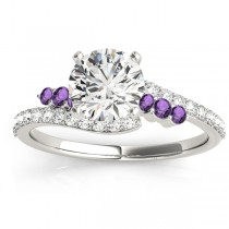 Diamond & Amethyst Bypass Engagement Ring 14k White Gold (0.45ct)