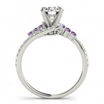 Diamond & Amethyst Bypass Engagement Ring 14k White Gold (0.45ct)