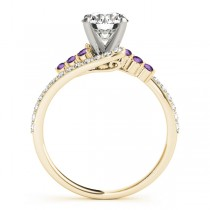 Diamond & Amethyst Bypass Engagement Ring 14k Yellow Gold (0.45ct)